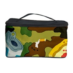 Urban Camo Green Brown Grey Pizza Strom Cosmetic Storage Case by Mariart