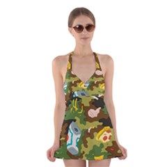 Urban Camo Green Brown Grey Pizza Strom Halter Swimsuit Dress by Mariart