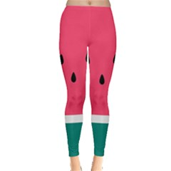 Watermelon Red Green White Black Fruit Leggings  by Mariart