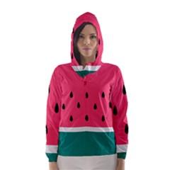 Watermelon Red Green White Black Fruit Hooded Wind Breaker (women) by Mariart