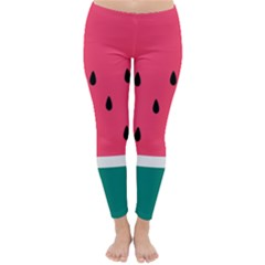 Watermelon Red Green White Black Fruit Classic Winter Leggings by Mariart
