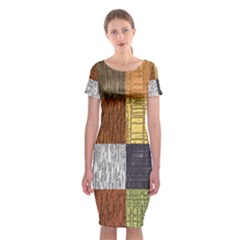 Blocky Filters Yellow Brown Purple Red Grey Color Rainbow Classic Short Sleeve Midi Dress by Mariart
