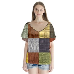 Blocky Filters Yellow Brown Purple Red Grey Color Rainbow Flutter Sleeve Top by Mariart