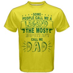 Yellow & Green Call Me Legend Most Important Dad Men s Cotton Tee by ThinkOutisdeTheBox
