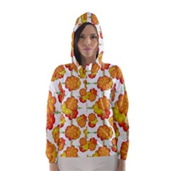 Colorful Stylized Floral Pattern Hooded Wind Breaker (women) by dflcprintsclothing