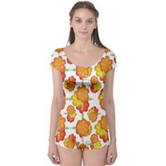 Colorful Stylized Floral Pattern Boyleg Leotard  by dflcprintsclothing