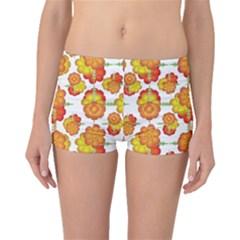 Colorful Stylized Floral Pattern Boyleg Bikini Bottoms by dflcprintsclothing