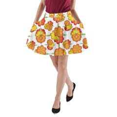 Colorful Stylized Floral Pattern A Line Pocket Skirt by dflcprintsclothing