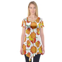 Colorful Stylized Floral Pattern Short Sleeve Tunic  by dflcprintsclothing