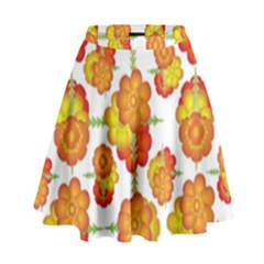 Colorful Stylized Floral Pattern High Waist Skirt by dflcprintsclothing