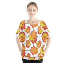 Colorful Stylized Floral Pattern Blouse by dflcprintsclothing