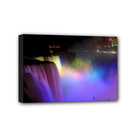 Niagara Falls Dancing Lights Colorful Lights Brighten Up The Night At Niagara Falls Mini Canvas 6  X 4  by Simbadda
