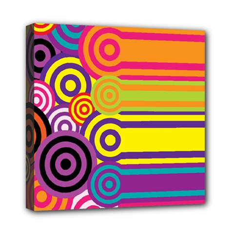 Retro Circles And Stripes Colorful 60s And 70s Style Circles And Stripes Background Mini Canvas 8  X 8  by Simbadda