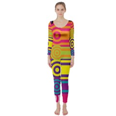 Retro Circles And Stripes Colorful 60s And 70s Style Circles And Stripes Background Long Sleeve Catsuit by Simbadda