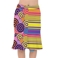 Retro Circles And Stripes Colorful 60s And 70s Style Circles And Stripes Background Mermaid Skirt
