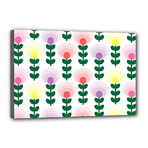 Floral Wallpaer Pattern Bright Bright Colorful Flowers Pattern Wallpaper Background Canvas 18  X 12