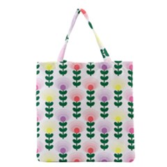 Floral Wallpaer Pattern Bright Bright Colorful Flowers Pattern Wallpaper Background Grocery Tote Bag by Simbadda