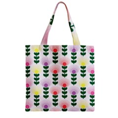 Floral Wallpaer Pattern Bright Bright Colorful Flowers Pattern Wallpaper Background Zipper Grocery Tote Bag