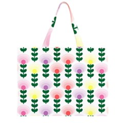 Floral Wallpaer Pattern Bright Bright Colorful Flowers Pattern Wallpaper Background Zipper Large Tote Bag by Simbadda