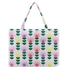 Floral Wallpaer Pattern Bright Bright Colorful Flowers Pattern Wallpaper Background Medium Zipper Tote Bag by Simbadda
