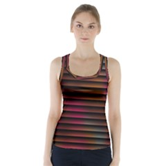 Colorful Venetian Blinds Effect Racer Back Sports Top