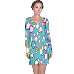 Circles Abstract Color Long Sleeve Nightdress