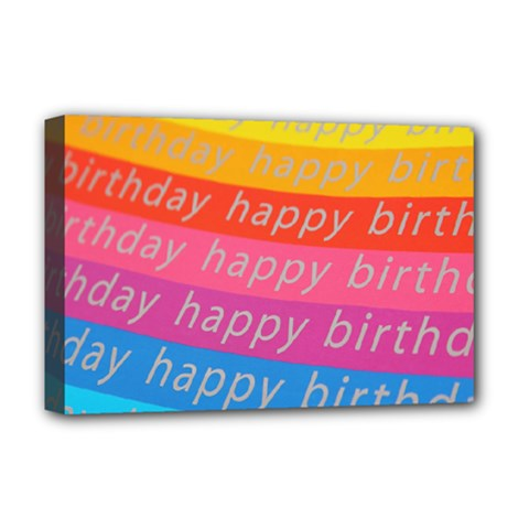 Colorful Happy Birthday Wallpaper Deluxe Canvas 18  X 12   by Simbadda