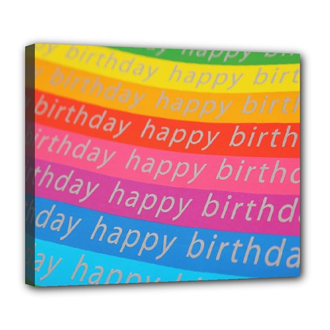 Colorful Happy Birthday Wallpaper Deluxe Canvas 24  X 20   by Simbadda