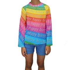 Colorful Happy Birthday Wallpaper Kids  Long Sleeve Swimwear