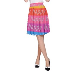 Colorful Happy Birthday Wallpaper A-Line Skirt