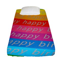 Colorful Happy Birthday Wallpaper Fitted Sheet (Single Size)