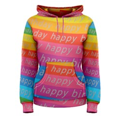 Colorful Happy Birthday Wallpaper Women s Pullover Hoodie