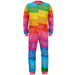 Colorful Happy Birthday Wallpaper OnePiece Jumpsuit (Men)