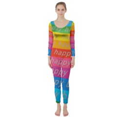 Colorful Happy Birthday Wallpaper Long Sleeve Catsuit