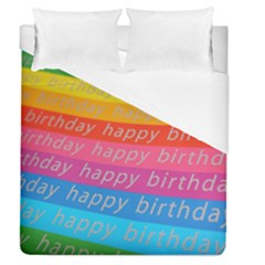 Colorful Happy Birthday Wallpaper Duvet Cover (Queen Size)