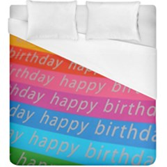 Colorful Happy Birthday Wallpaper Duvet Cover (King Size)