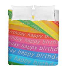 Colorful Happy Birthday Wallpaper Duvet Cover Double Side (Full/ Double Size)