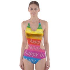 Colorful Happy Birthday Wallpaper Cut-Out One Piece Swimsuit