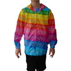 Colorful Happy Birthday Wallpaper Hooded Wind Breaker (Kids)