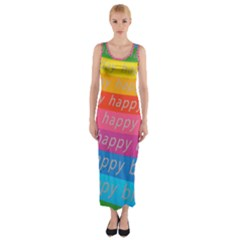 Colorful Happy Birthday Wallpaper Fitted Maxi Dress