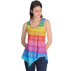 Colorful Happy Birthday Wallpaper Sleeveless Tunic