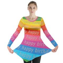 Colorful Happy Birthday Wallpaper Long Sleeve Tunic