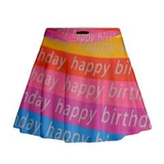 Colorful Happy Birthday Wallpaper Mini Flare Skirt