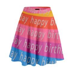 Colorful Happy Birthday Wallpaper High Waist Skirt