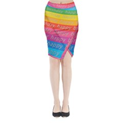 Colorful Happy Birthday Wallpaper Midi Wrap Pencil Skirt