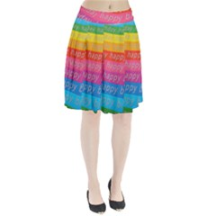 Colorful Happy Birthday Wallpaper Pleated Skirt