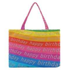 Colorful Happy Birthday Wallpaper Medium Zipper Tote Bag by Simbadda