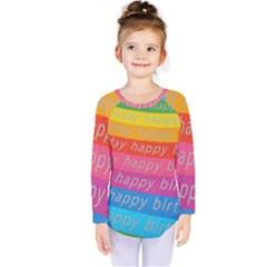 Colorful Happy Birthday Wallpaper Kids  Long Sleeve Tee