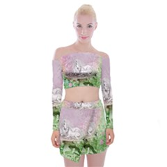 Wonderful Unicorn With Foal On A Mushroom Off Shoulder Top With Skirt Set