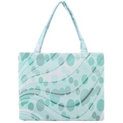 Abstract Background Teal Bubbles Abstract Background Of Waves Curves And Bubbles In Teal Green Mini Tote Bag by Simbadda